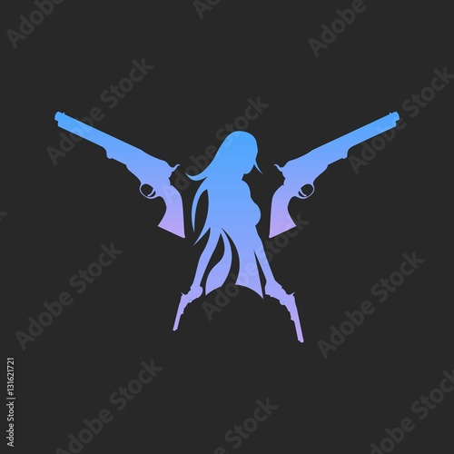girl with gun silhouette logo isolated stock image and royalty
