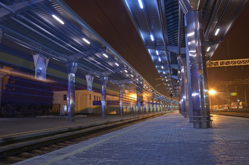The train station at night.
