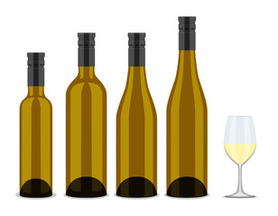 set of bottles of wine, flat design