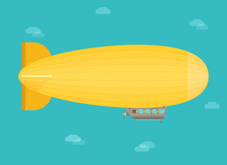Zeppelin airship dirigible balloon flight, flat design