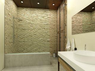interior of modern bathroom with shower. 3d illustration
