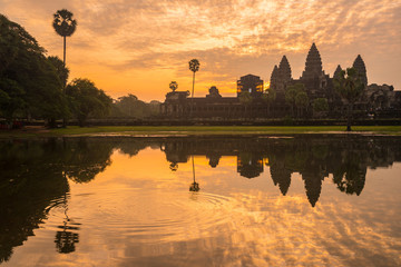 The silhouette of Angkor Wat before sunrise in Siem Reap province of Cambodia.
