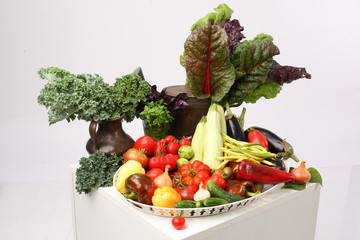 Plate with mixed organic assortment of Vegetables