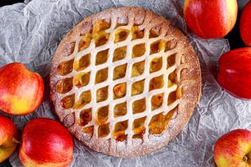 Home baked Lattice apple pie on crumpled paper