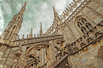 Old photo with architectonic details from the Milan Cathedral, I
