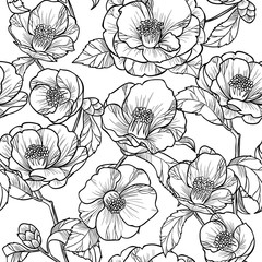 Black and white flowers camellia.Vector seamless pattern