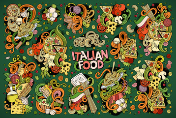 Doodle cartoon set of italian food designs