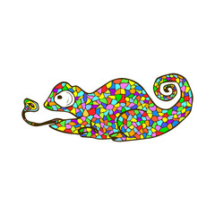 Vector mosaic chameleon. Cute cartoon colorful animal