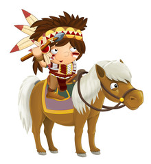 Cartoon western indian on horse - isolated - illustration for children