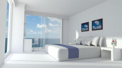 Modern luxury hotel room 3D rendering