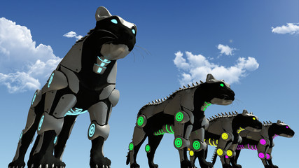 Machine sci-fi panthers 3D rendering