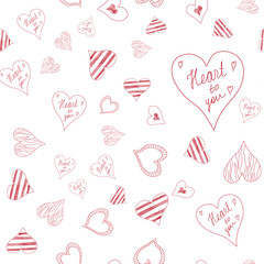 Seamless pattern with hearts on white