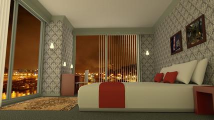 Classic luxury hotel room 3D rendering