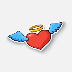 Vector illustration. Angel heart with wings and halo. Valentine's Day. Cartoon sticker in comic style with contour. Decoration for greeting cards, posters, patches and prints for clothes, emblems