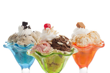 colorful cups with a scoop of ice cream