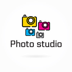 Photo studio logo template, colorful camera flat icon, vector illustration, photography & video cam symbol, editable design element for identity, logotype, prints, web, digital projects. Bright color