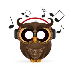 owl wearing headphones
