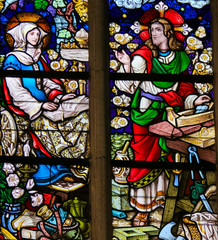 Fototapete - Stained Glass - Jesus Christ as a carpenter