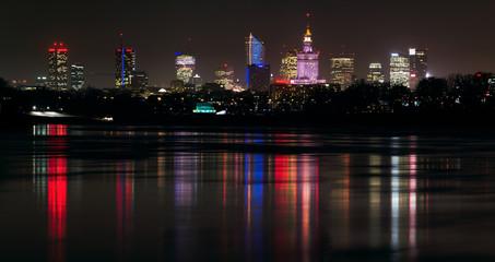 Fototapeta Panorama Warszawy w nocy obraz