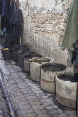 Buckets near a tannery