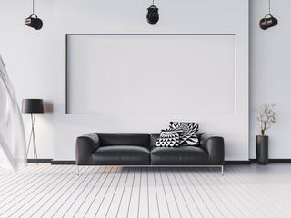 Mock up interior background, modern style, 3D render, 3D illustr