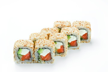California sushi roll with salmon and avocado isolated
