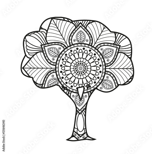 Vector illustration of a black and white mandala tree for coloring ...