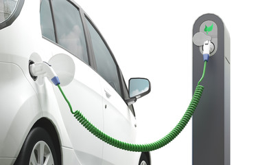 Auto elettrica in carica o energia pulita