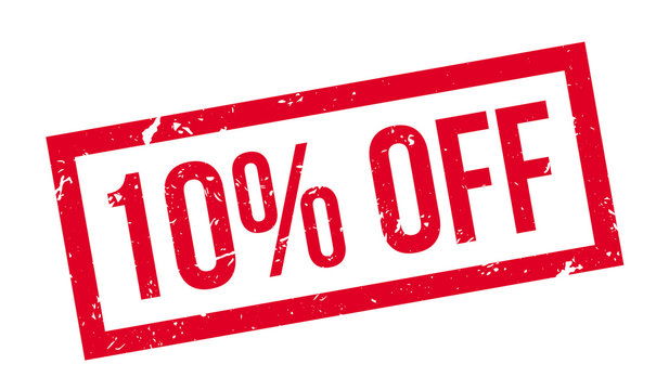 10 percent off rubber stamp