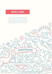 Dinoland - line design brochure poster template A4