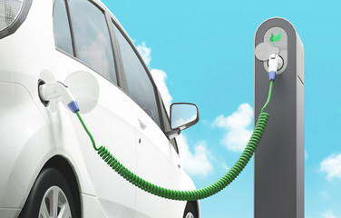 Automobile elettrica in carica energia pulita