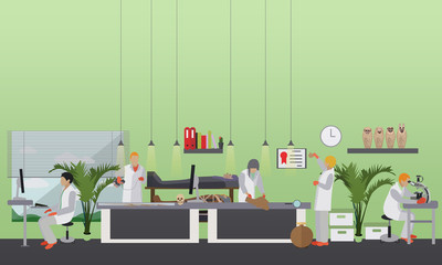 Vector illustration of archaeological laboratory, people at work and equipment