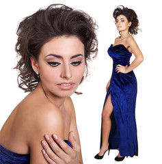 beautiful brunet woman in blue evening dress isolated in white background