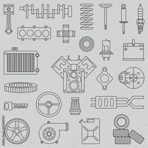 u0026quot line flat vector icon car parts set with undercarriage