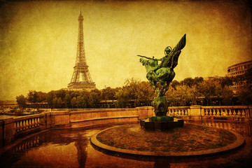 vintage style picture of the Eiffel Tower