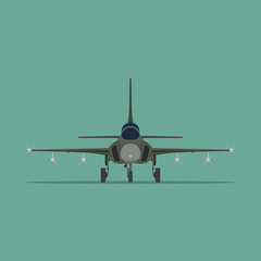 Vector image of a military fighter aircraft in flat style. Front view.