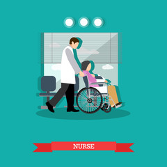 Vector illustration of nurse carrying patient in wheelchair, flat style