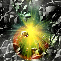 Abstract cracked background with rays and stars. Orange, gold, green and black background resembling an explosion in space
