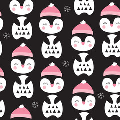 seamless penguin bird pattern vector illustration