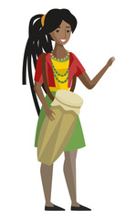 african reggae girl with percusion drum