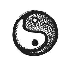 grunge yin yang symbol - black icon