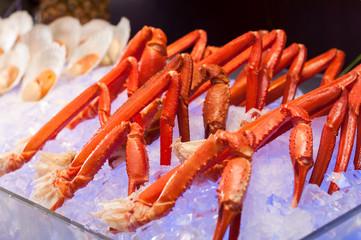 crab legs on the ice