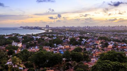 Aerial view of Olinda and Recife in Pernambuco, Brazil.