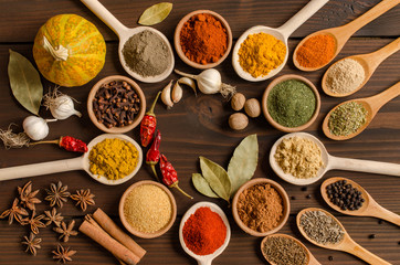 Photo sur Plexiglas Herbe, epice Set of Indian spices on wooden table - Top view