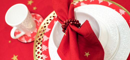red cloth,Christmas,table setting