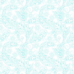 Elegance seamless pattern with ethnic flowers. Vector Floral Illustration