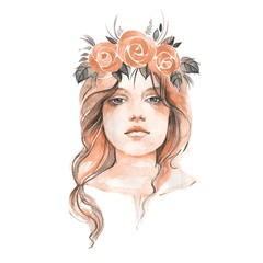 Young girl in floral wreath 1. Female portrait. Hand drawn face. Watercolor illustration