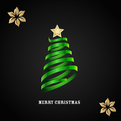 Vector card with Christmas tree on a black background
