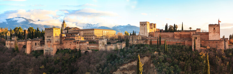 Sunset at the Alhambra in Granada.
