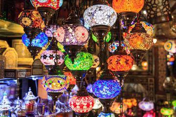 Arabic crystal lamps. In a market.